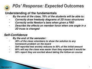 PDs' Response: Expected  Outcomes