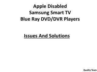 Apple Disabled Samsung Smart TV  Blue  Ray DVD/DVR Players