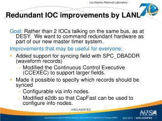 Redundant IOC improvements by LANL
