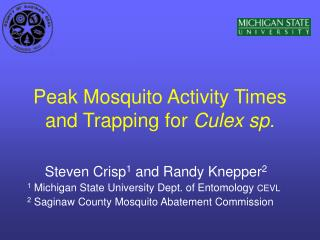 Peak Mosquito Activity Times and Trapping for Culex sp.