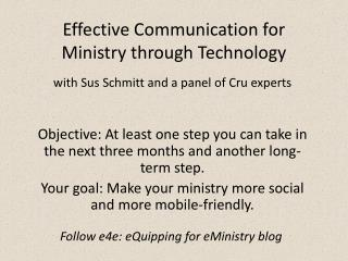 Effective Communication for Ministry through Technology