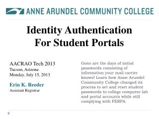 Identity Authentication For Student Portals
