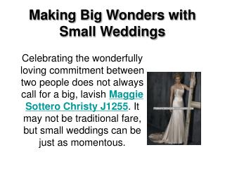 Making Big Wonders with Small Weddings
