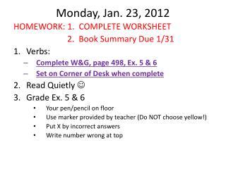 Monday, Jan. 23, 2012
