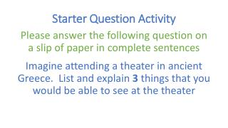 Starter Question Activity