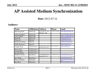 AP Assisted Medium Synchronization