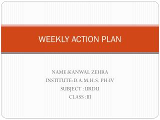 WEEKLY ACTION PLAN