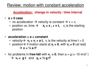 Review: motion with constant acceleration