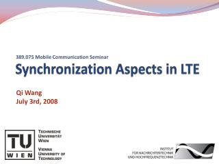 Synchronization Aspects in LTE