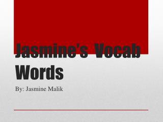Jasmine's  Vocab Words