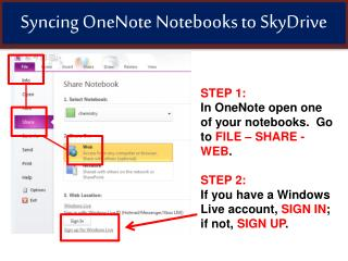 Syncing OneNote Notebooks  to SkyDrive