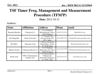 TSF Timer Freq. Management and Measurement Procedure (TFM 2 P)