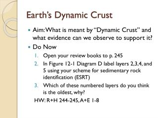 Earth's Dynamic Crust