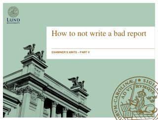 How to not write a bad report