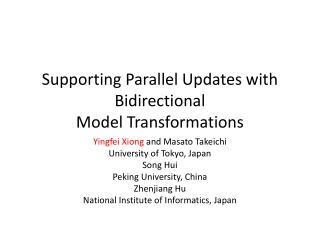 Supporting Parallel Updates with Bidirectional Model Transformations