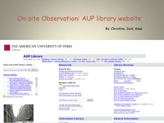On-site Observation: AUP library website