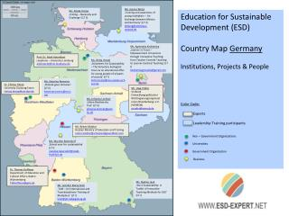 Education for Sustainable Development (ESD) Country Map  Germany Institutions, Projects & People