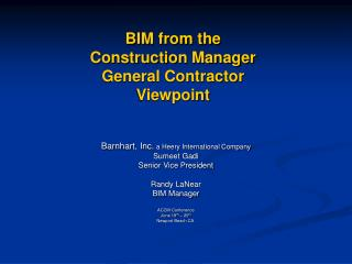 BIM from the  Construction Manager General Contractor  Viewpoint