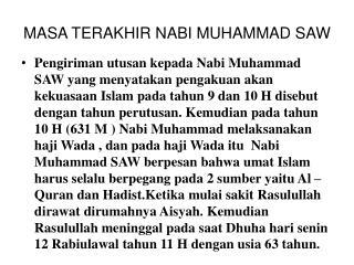 MASA TERAKHIR NABI MUHAMMAD SAW