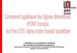 Comment appliquer les lignes directrices  d'UNI Europa  sur les CEE dans notre travail quotidien
