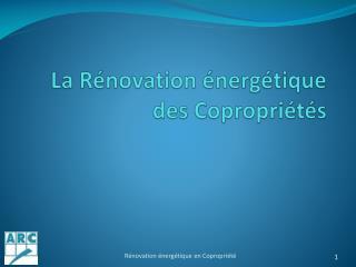 La Rénovation énergétique des Copropriétés
