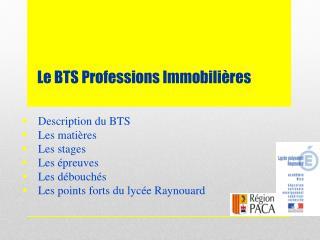 Le BTS Professions Immobili�res
