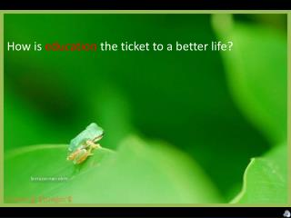How is  education  the ticket to a better life?