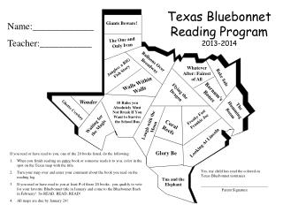 Texas Bluebonnet  Reading Program 2013-2014