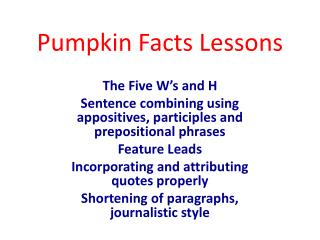 Pumpkin Facts Lessons