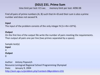(SGU) 231 . Prime  Sum time limit per test: 0.5  sec.	 memory  limit per test: 4096 KB