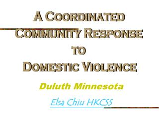A Coordinated  Community Response  to  Domestic Violence