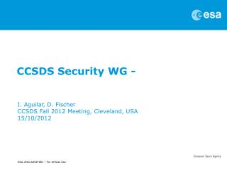 CCSDS Security WG -