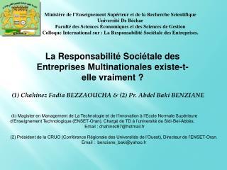 (1)  Chahinez Fadia  BEZZAOUCHA & (2) Pr. Abdel Baki BENZIANE