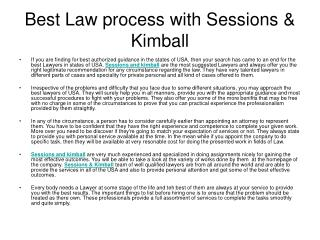Best Law process with Sessions & Kimball