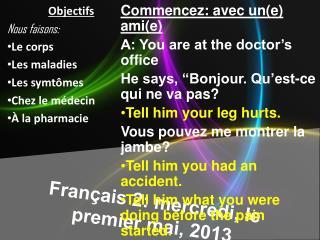 Français  2:  mercredi , le premier  mai , 2013