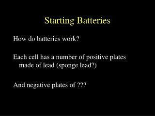 Starting Batteries
