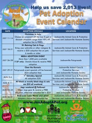 Pet Adoption Event Calendar