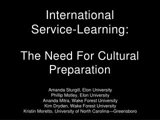 International  Service-Learning: The Need For Cultural Preparation
