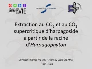 Extraction au CO 2  et au CO 2  supercritique d'harpagoside à partir de la racine d' Harpagophyton