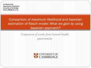 Comparison of results from  General health questionnaire