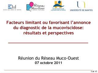 Réunion du Réseau Muco-Ouest 07 octobre 2011