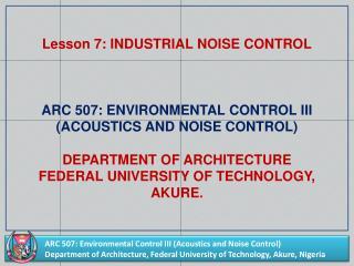 Lesson 7: INDUSTRIAL  NOISE CONTROL