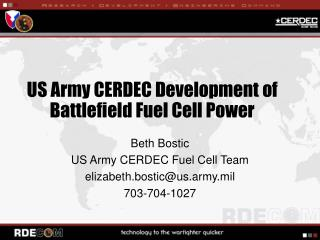US Army CERDEC Development of Battlefield Fuel Cell Power