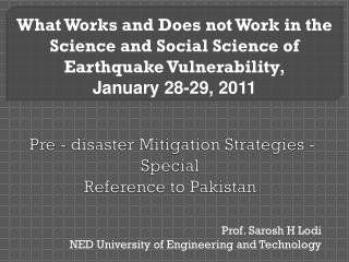 Pre - disaster Mitigation Strategies - Special  Reference to Pakistan