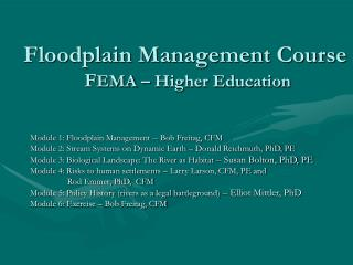 Floodplain Management Course  FEMA   Higher Education