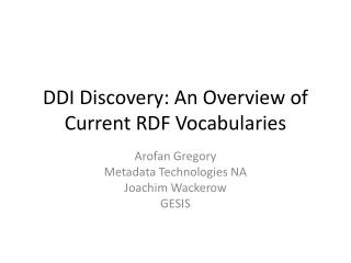 DDI Discovery: An Overview of Current RDF Vocabularies