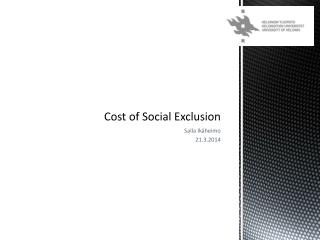 Cost  of Social  Exclusion