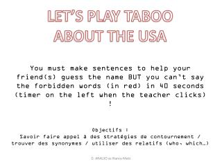 LET�S PLAY TABOO ABOUT THE USA