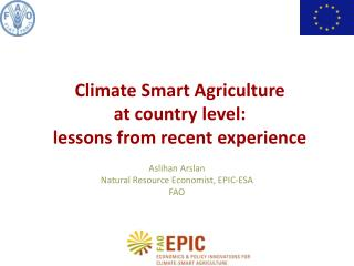 Climate  Smart  Agriculture  at country  level:  lessons from recent experience