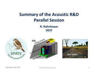 Summary of the Acoustic R&D Parallel  S ession